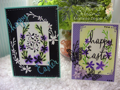 dies as stencils color with watercolors 2 cards