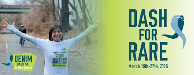 2nd Annual DENIM Dash 5k for Rare Disease 3.23.16 #ad