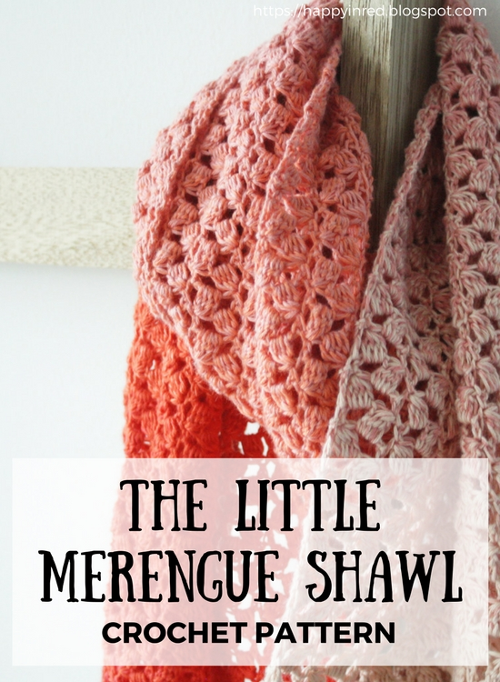 The Little Meringue Shawl, crochet pattern with Scheepjes Whirl | Happy in Red