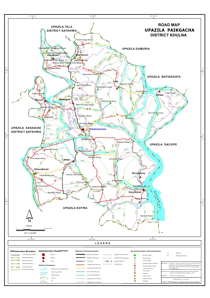 Paikgacha Upazila Road Map Khulna District Bangladesh
