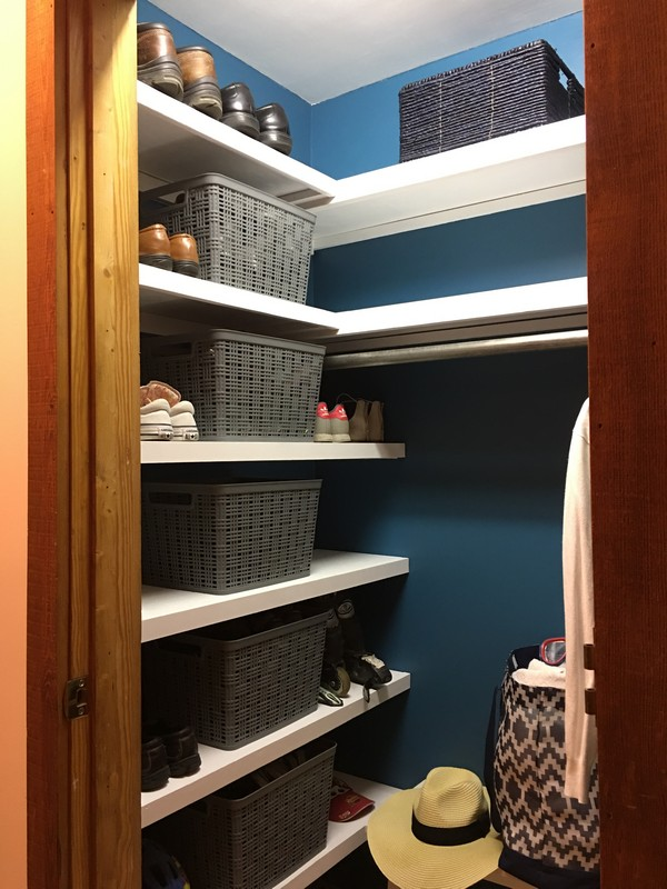 Coat Closet Mudroom Organization Makeover | $100 Room Challenge | Built in Reclaimed Shelves, Sherwin Williams Great Falls 6495, Shoes in Bins