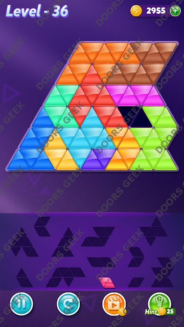 Block! Triangle Puzzle Grandmaster Level 36 Solution, Cheats, Walkthrough for Android, iPhone, iPad and iPod
