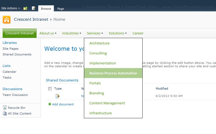 sharepoint 2010 change menu style