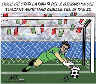 parata, 2 giugno, festa della repubblica, campionati europei, euro 2016, calcio, sport, vignetta, satira
