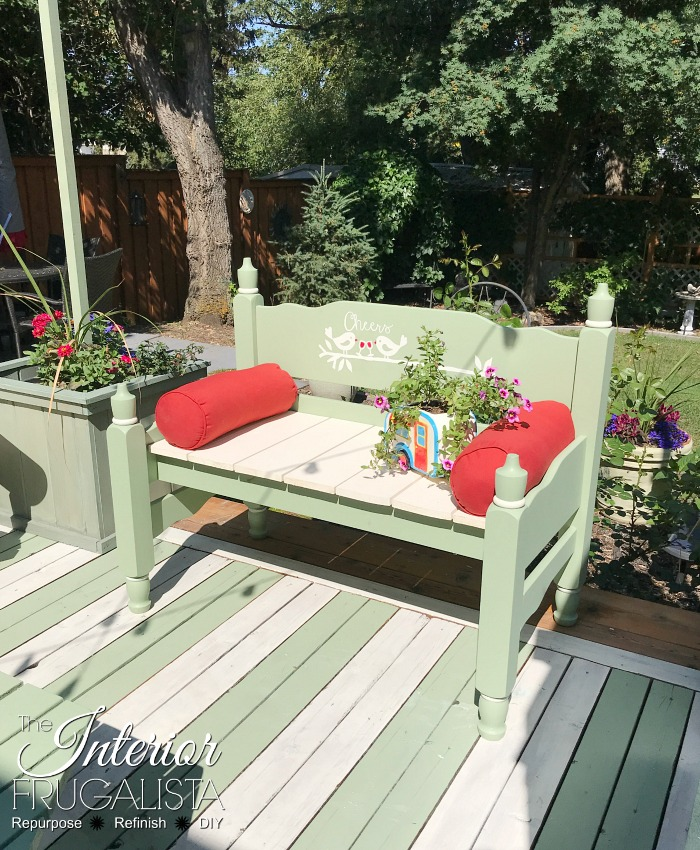 Playful Headboard Garden Bench With Graphic