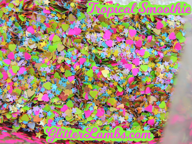 Tropical Smoothie Loose Glitter Mix Craft Glitter Nail Art Glitter Gold Holographic Hearts, Gold Holographic Stars, Neon Green Hearts, Neon Hot Pink Hearts, Mini Yellow Stars, Mini Blue Stars, Mini Pink Stars