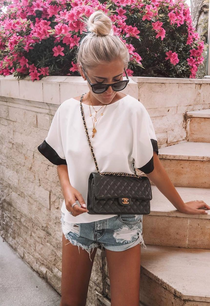 trendy outfit idea to wear right now / denim shorts + black bag + top