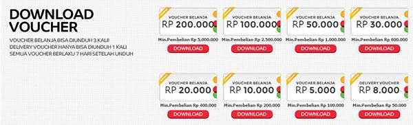Beragam voucher yang dapat di-download di Elevenia setiap hari Belanja di Elevenia Gratis Voucher 1 Juta.
