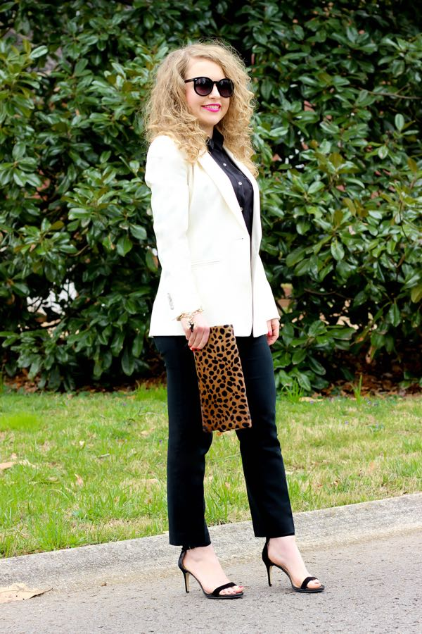 White Blazer, Clare V Leopard Clutch, Curly Hair, #Girlboss