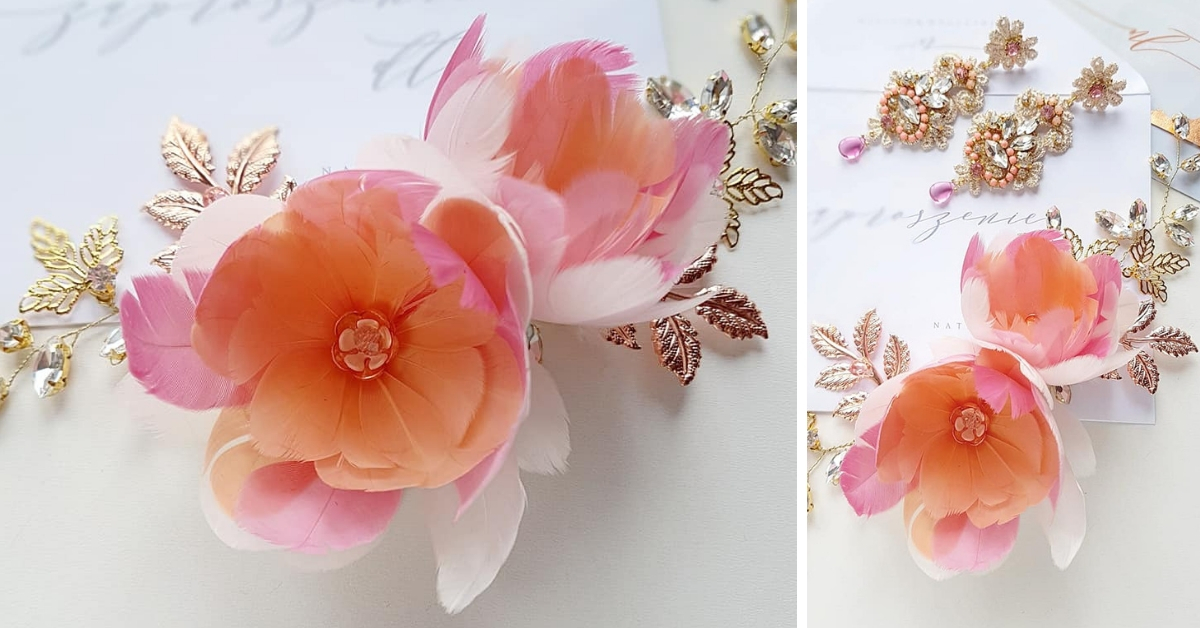 Ślubna ozdoba do włosów z kwiatami.