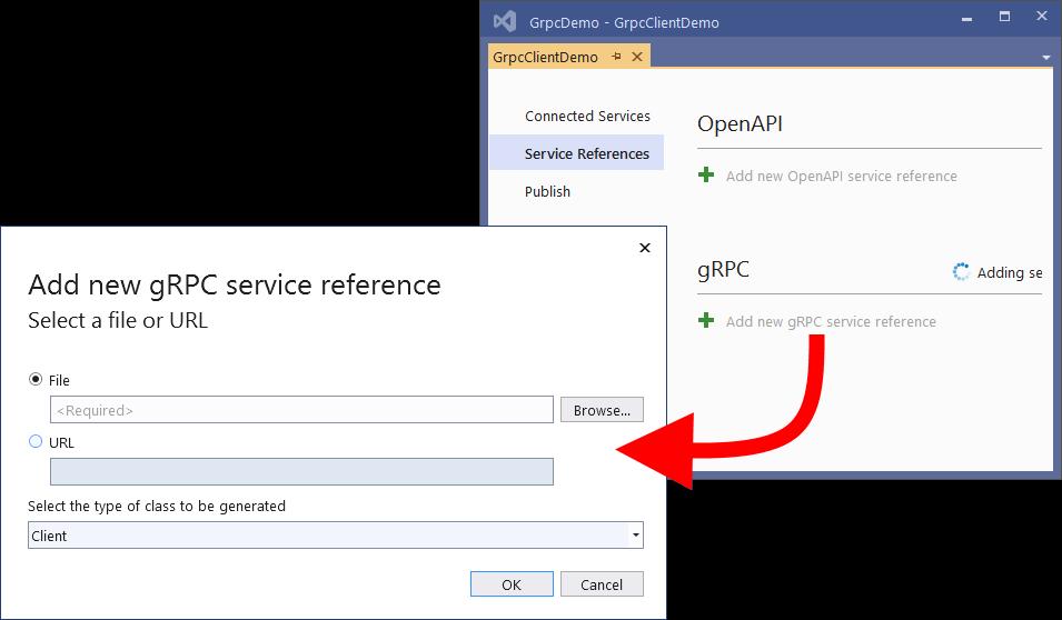 Añadir referencia a servicio gRPC