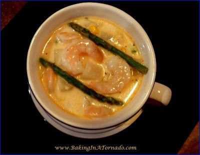 Shrimp Chowder, a delicious, filling chowder made with potatoes, corn, asparagus and bursting with flavorful shrimp  | Recipe developed by www.BakingInATornado.com | #recipe #soup