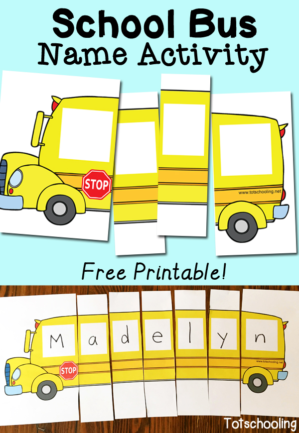 FREE School Bus Name puzzle to practice name recognition. Perfect for back to school!