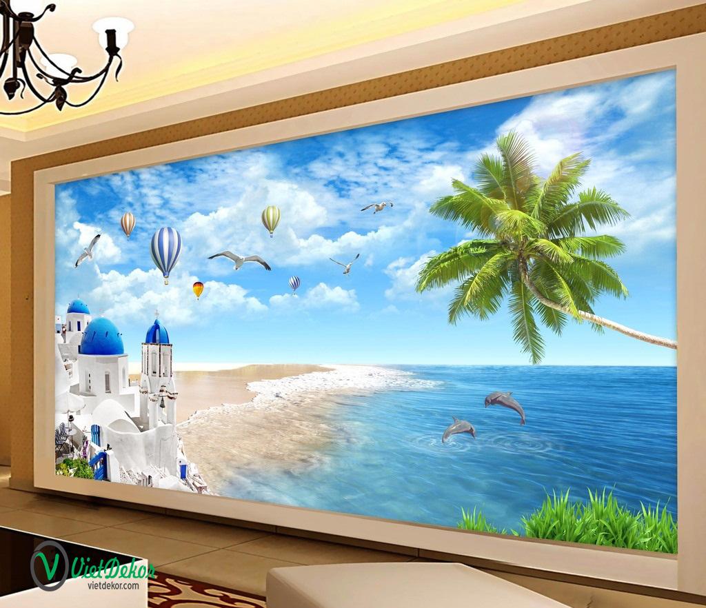 Tranh dán tường 3d phong cảnh biển bầu trời cò bay