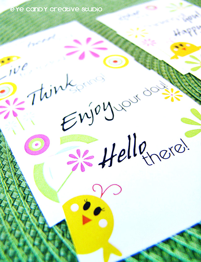 hello there, think spring stationery, love notes, lunchbox notes, spring