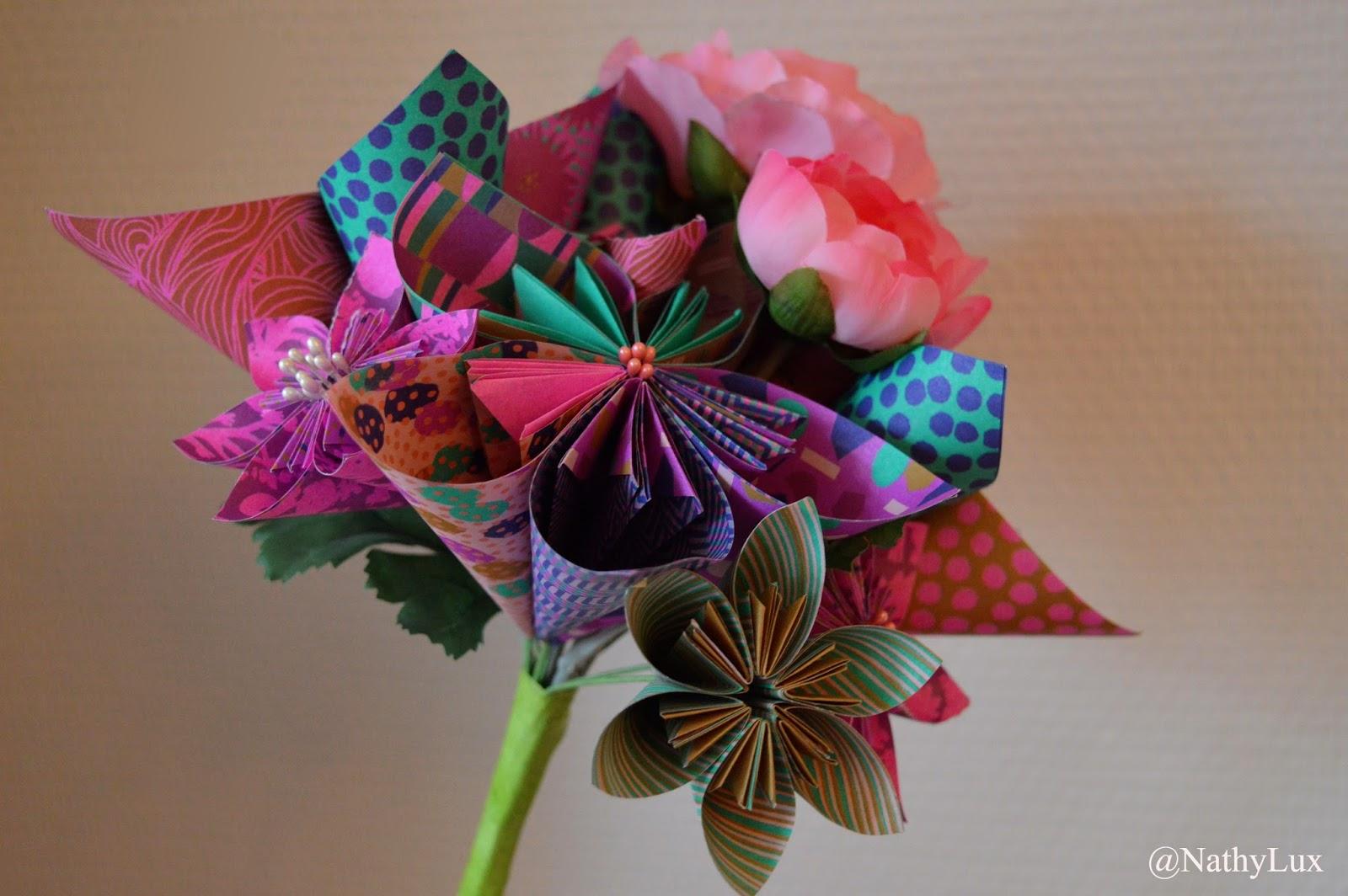 bouquet fleurs origami. Black Bedroom Furniture Sets. Home Design Ideas