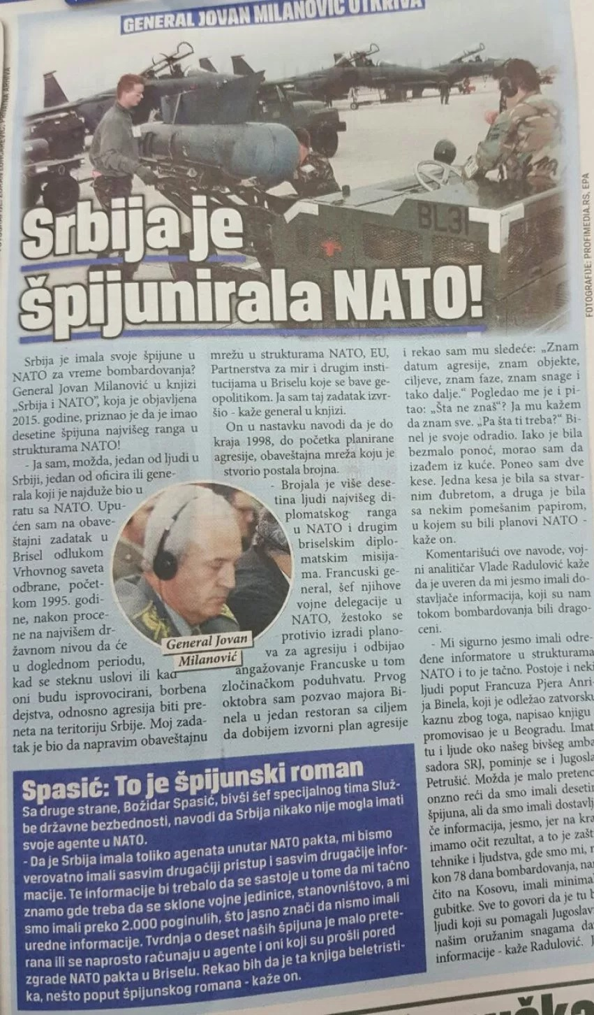 Jovan Milanovic: Serbia had its spies during the NATO bombing in 1999