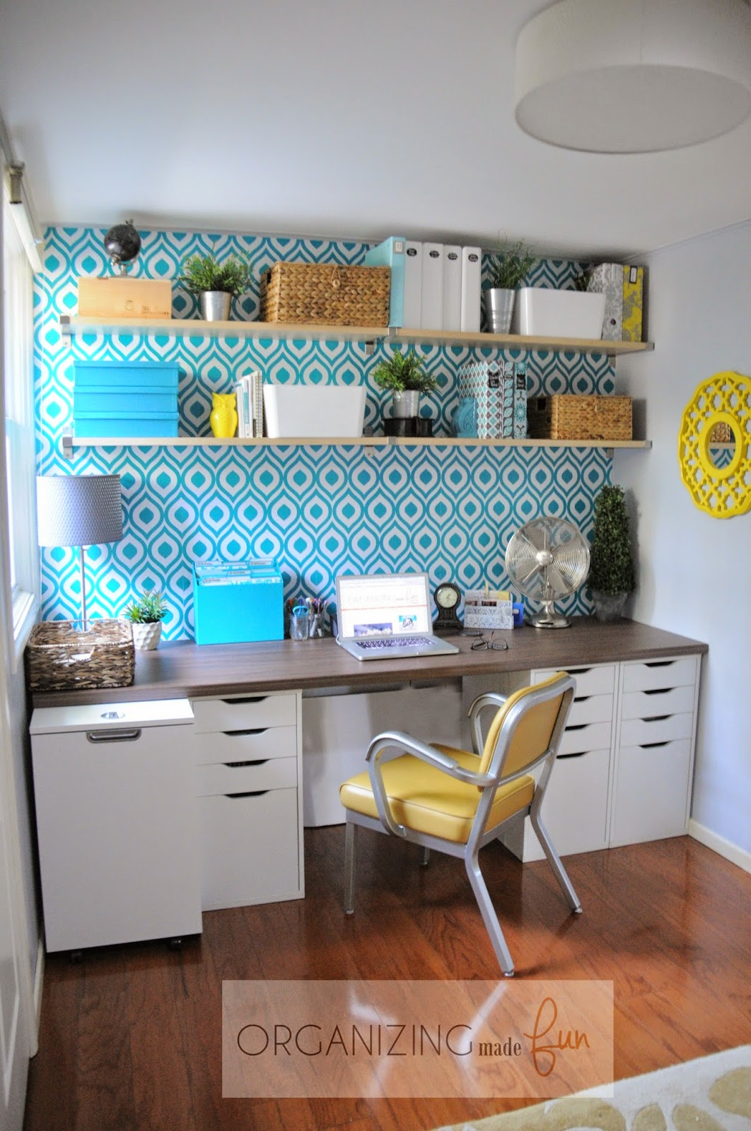 Amazing home office filled with color and texture :: OrganizingMadeFun.com