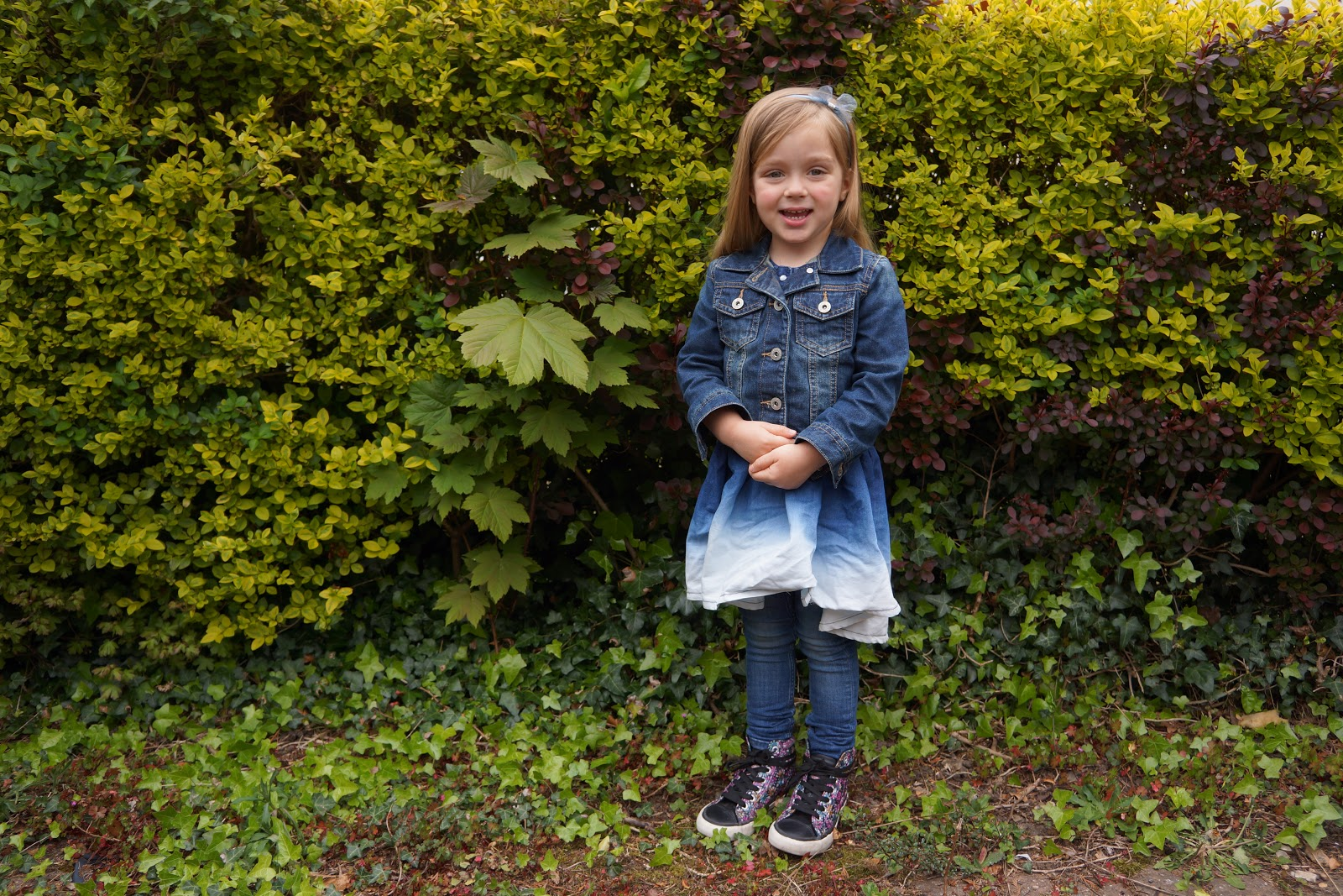 a denim outfit on a four year old girl