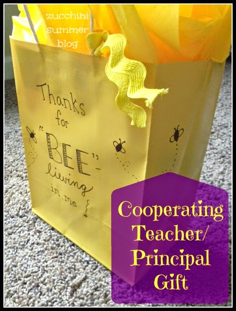 cooperating teacher gift, student teacher principal gift, cooperating principal gift, Bee themed gift, cheer coach gift, piano teacher gift, voice coach gift