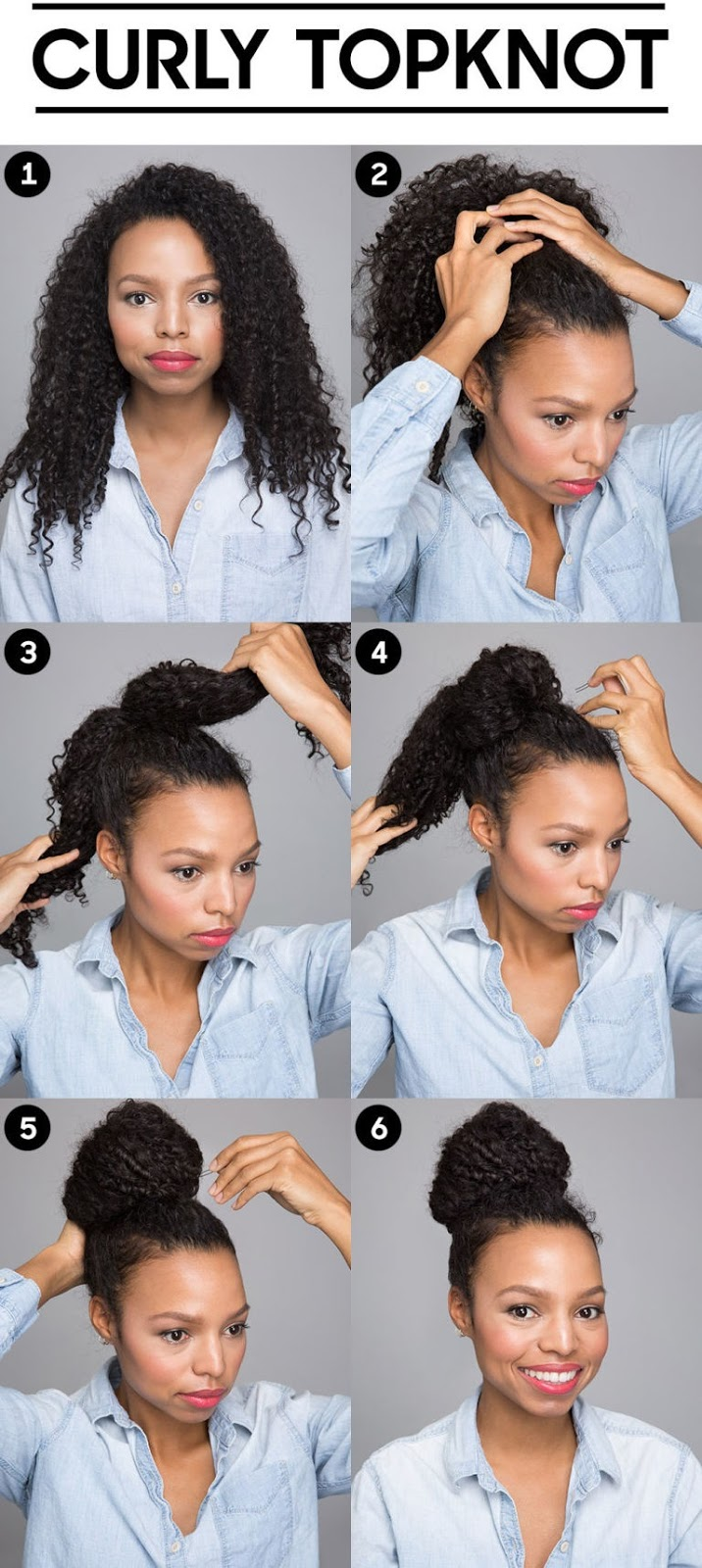Topknot for curly hair