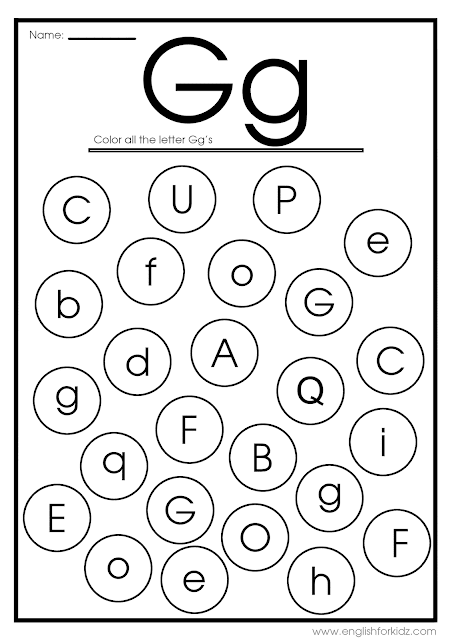 Find letter g worksheet -- printable ESL materials to teach English alphabet
