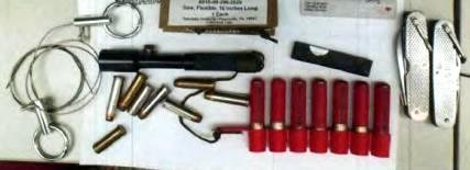 A flare gun, seven flares, a surgical razor, two pocket knives, two flex-finger saws, two rounds of .357 ammunition and three rounds of .38 caliber ammunition