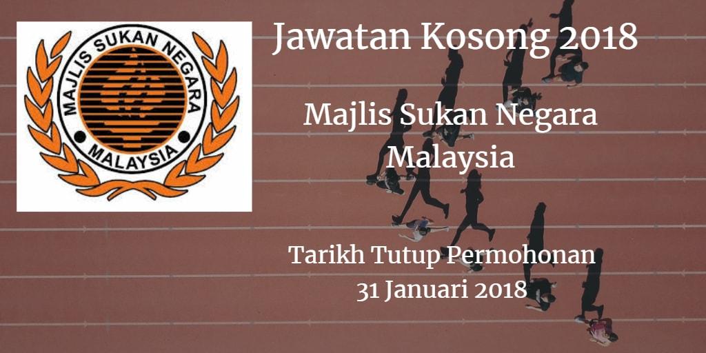 Jawatan Kosong Majlis Sukan Negara Malaysia 31 Januari 2018
