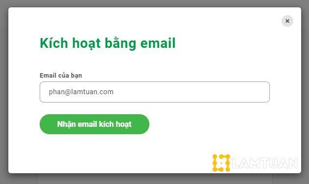 Kích hoạt tài khoản bằng email.