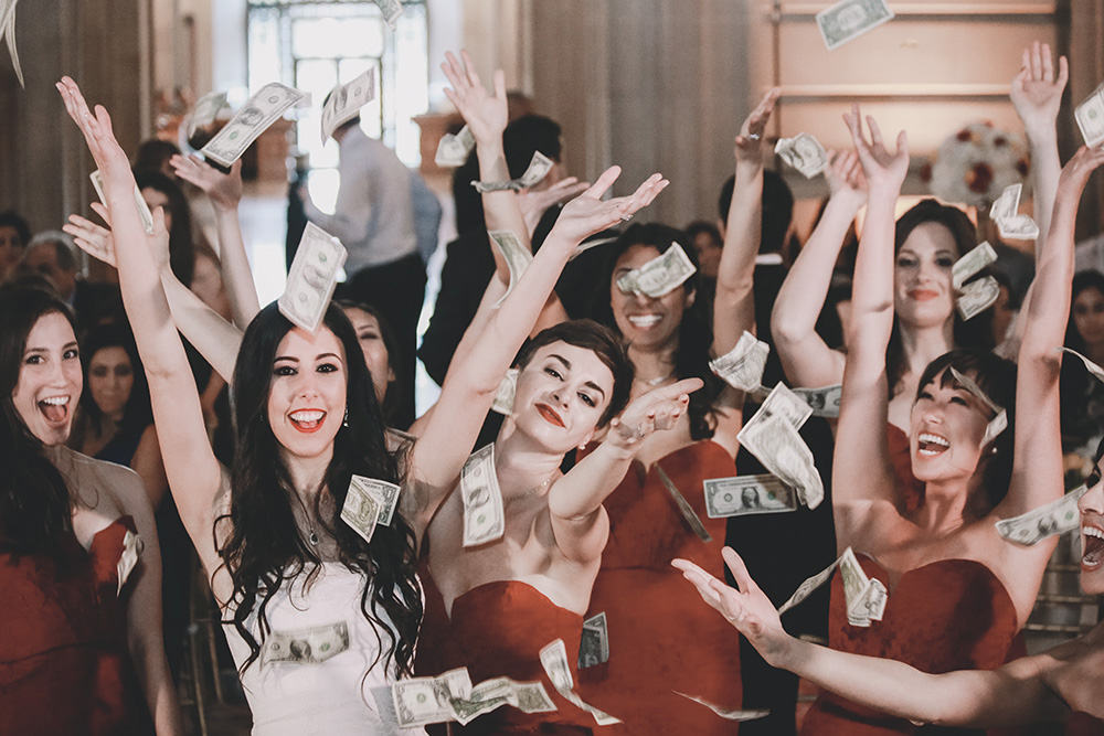 Money dance bride and bridesmaids