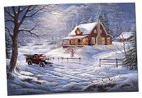 Üzerinde karlar altında ışıklı bir ev ile karda giden ve çam ağacı taşıyan eski bir araç olan kartpostal