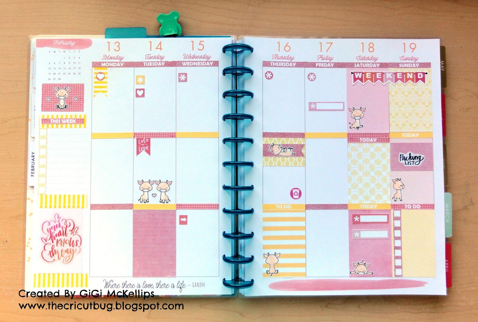 The Cricut Bug: Giraffe Theme Big Happy Planner Weekly Pages