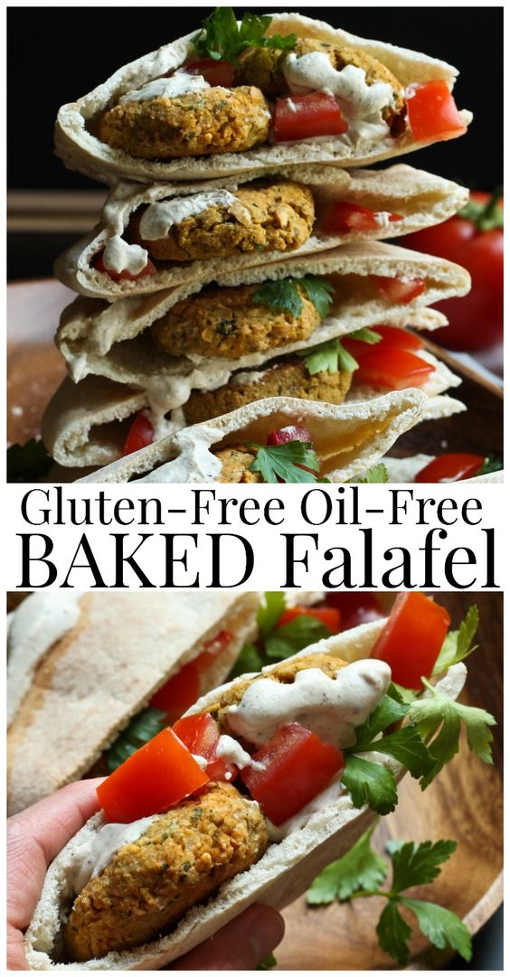 Vegan Gluten-Free Oil-Free Baked Falafel that is so delicious, full of flavor and totally healthy. No oil, not fried and baked for a delicious healthy dinner. Made with only 8 ingredients.