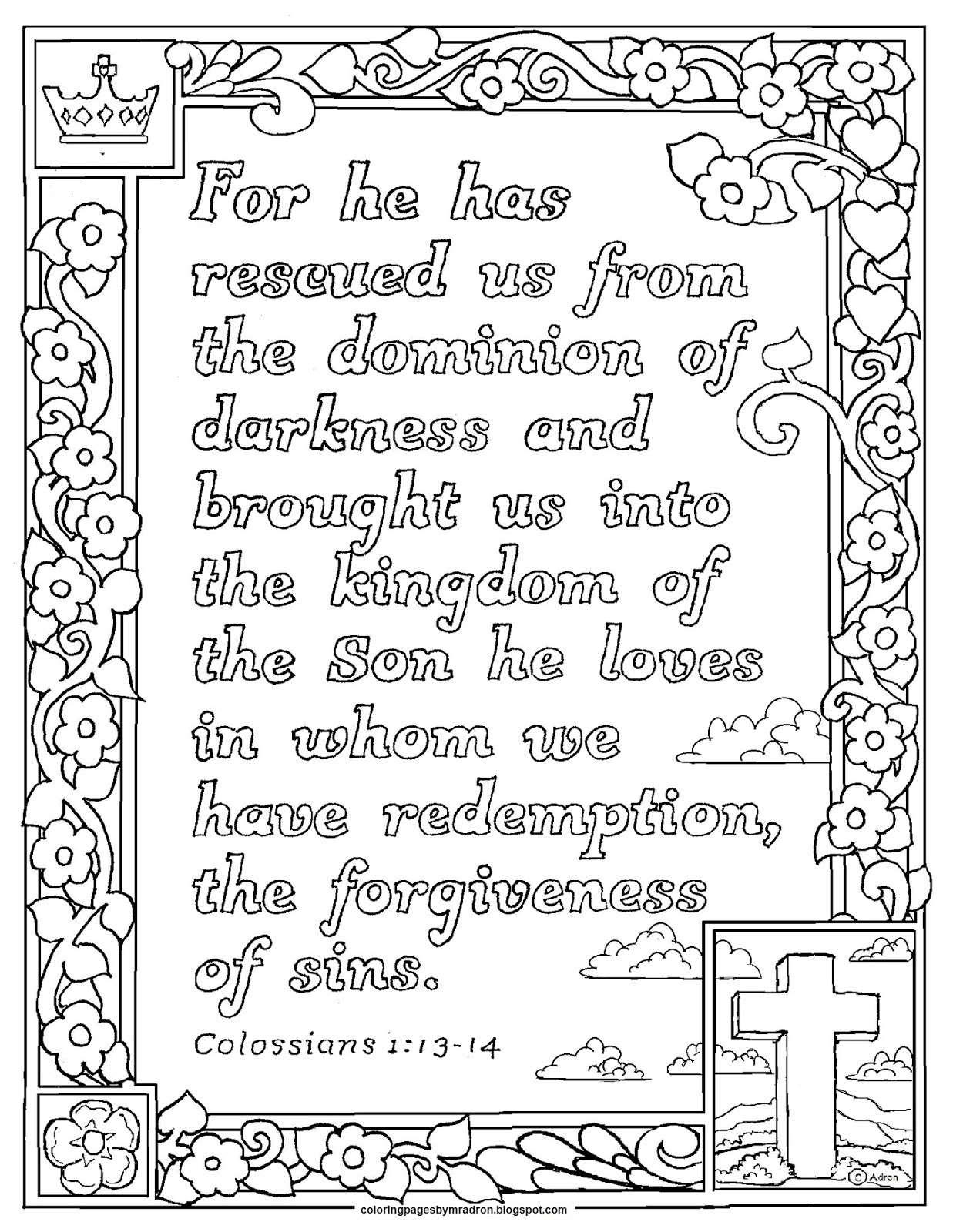 Coloring Pages For Kids By Mr Adron Colossians 113 14 Print And
