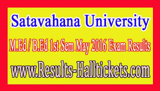 Satavahana University M.Ed / B.Ed 1st Sem May 2016 Exam Results