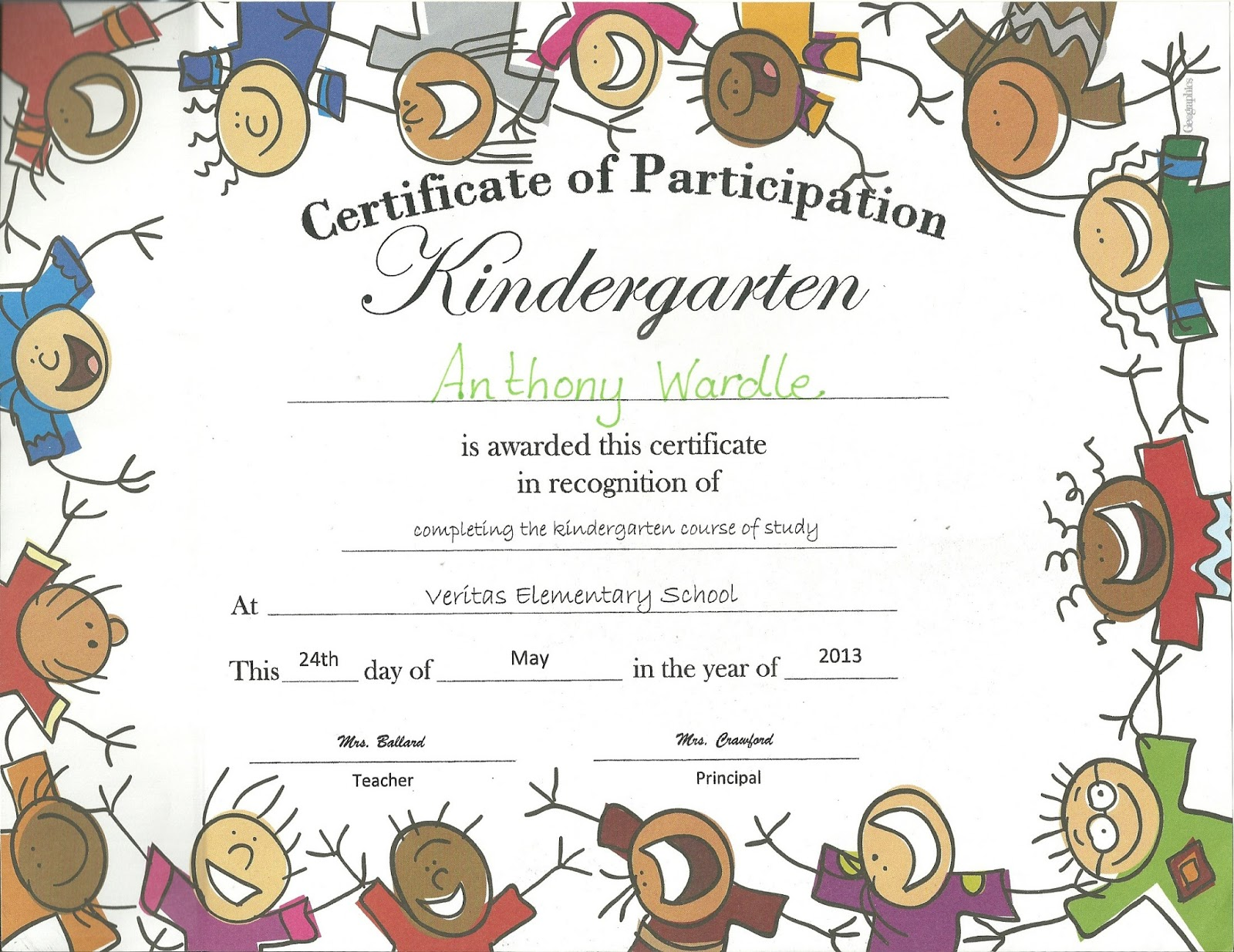 billy wardle family blog tony s kindergarten certificate