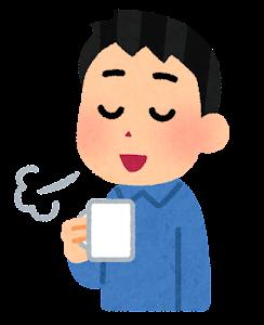 コーヒーで一服している人のイラスト(男性・コップ)