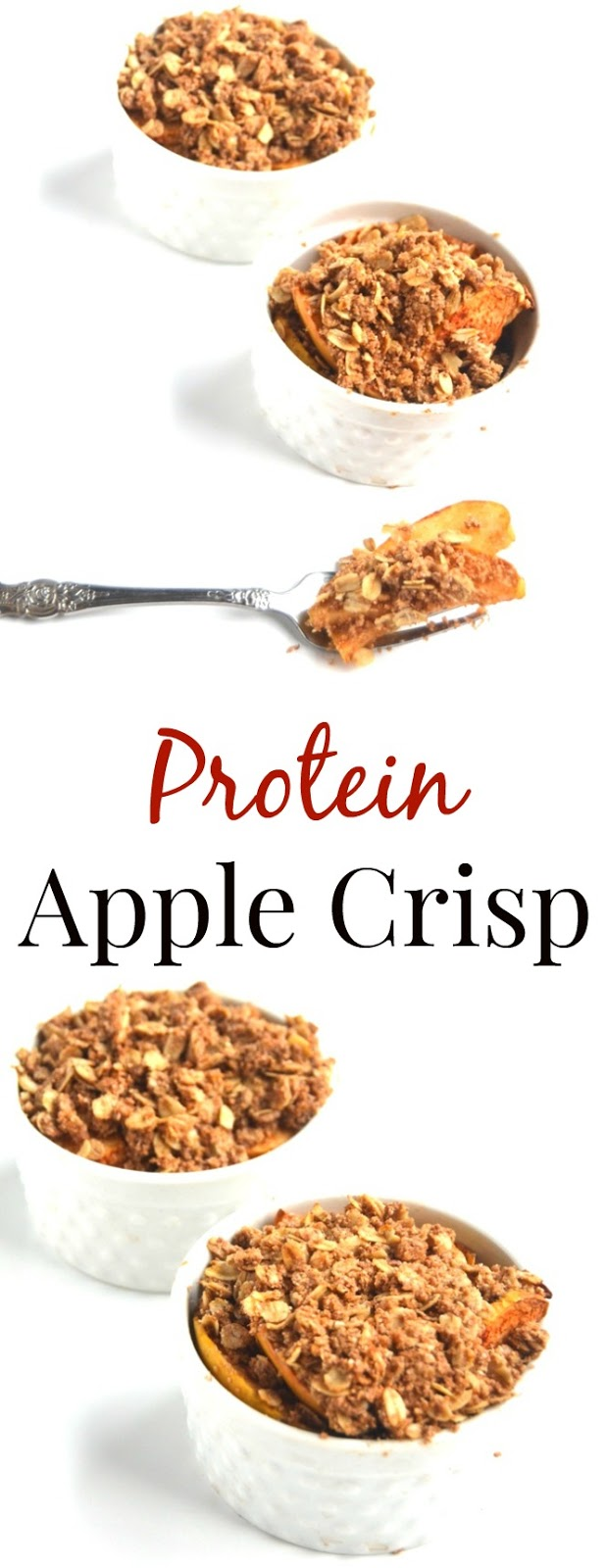 This Protein Apple Crisp is a lighter, healthier version of your favorite crisp made with whole-wheat flour, oats, less sugar and protein for a satisfying, flavorful dessert! www.nutritionistreviews.com