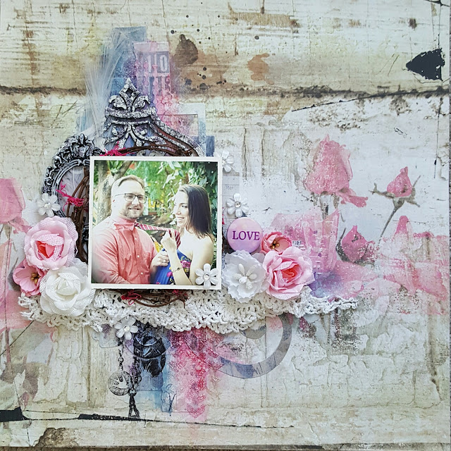 Blue Fern Studios Tattered Walls Love scrapbook layout Jessica McFall