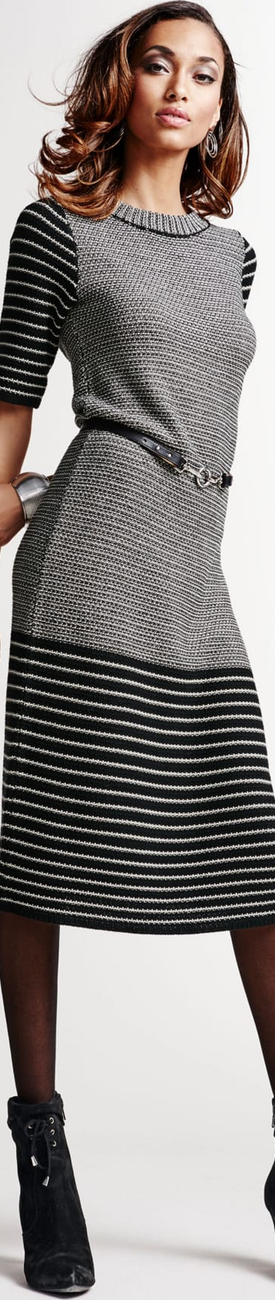 Madeleine Knit Dress in Black/Wool White