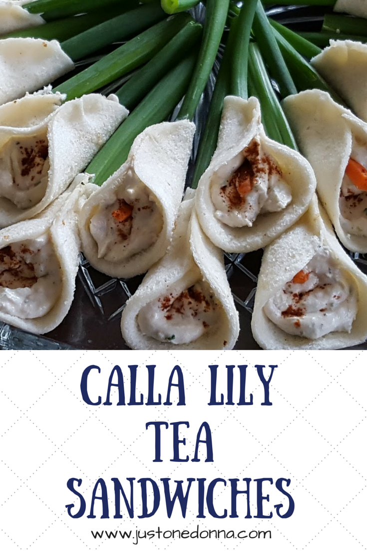 Calla lily tea sandwiches just one donna for Club sandwich fillings for high tea