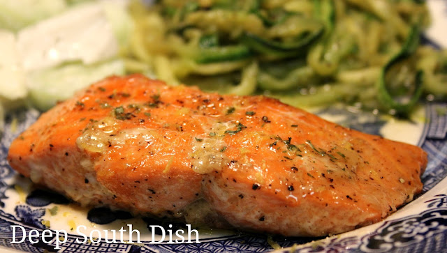 Wild Alaskan salmon dusted with a brown sugar, lemon zest and Cajun seasoned rub and baked.