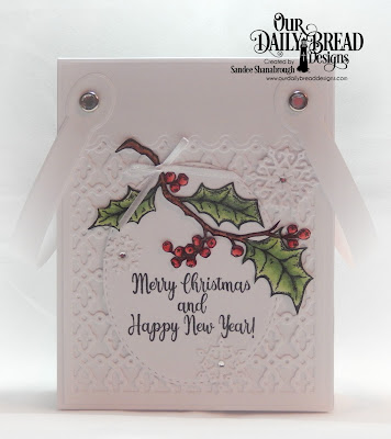 Our Daily Bread Designs Stamp Set: Holly Leaves, Custom Dies: Card Caddy & Gift Bag, Gift Bag Handles & Topper, Double Stitched Ovals