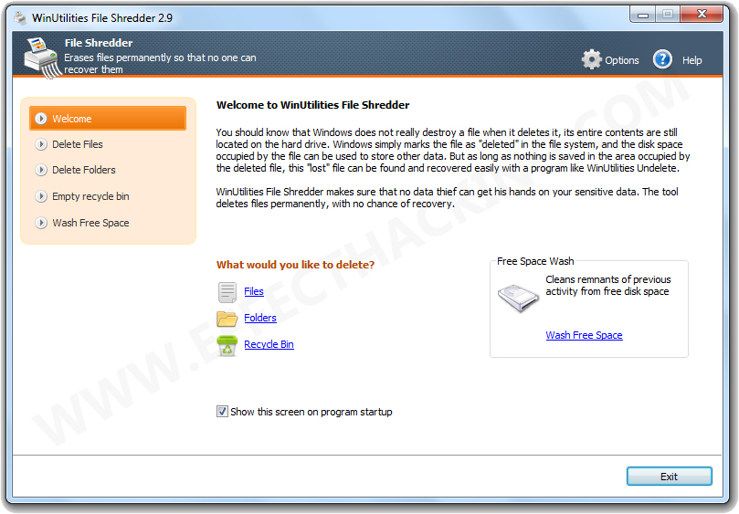 WinUtilities File Shredder Screenshot