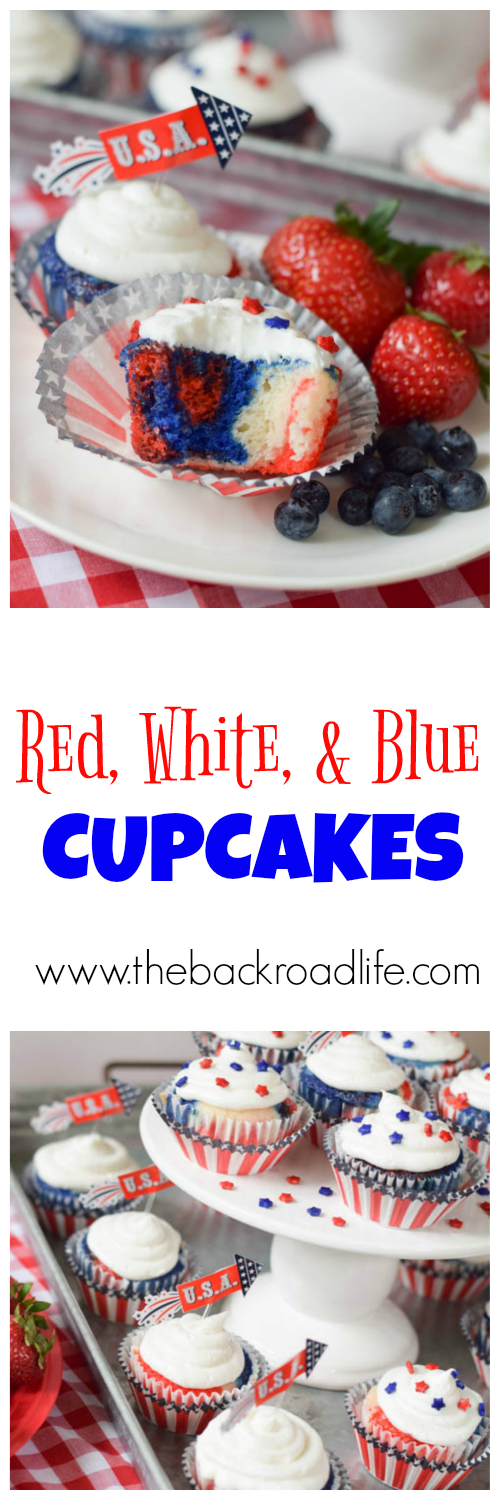 Patriotic cupcakes for your next party! These homemade red, white, and blue cupcakes are the perfect treat for any summer celebration! Celebrate 4th of July with these amazing cupcakes.