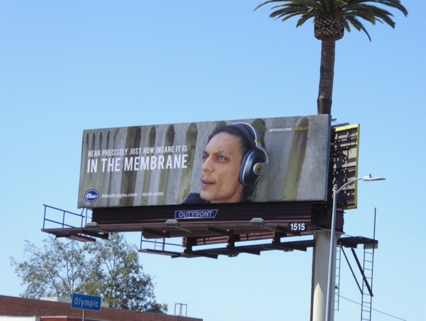Insane in the membrane Blue Satellite headphones billboard