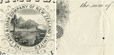 detail from a share in the Land & Loan Company of New Zealand comparing vignettte and embossed company seal