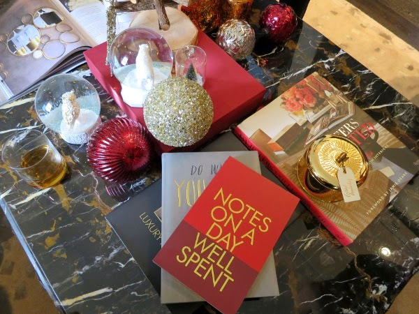 Red and gold coffee table styling for the holidays