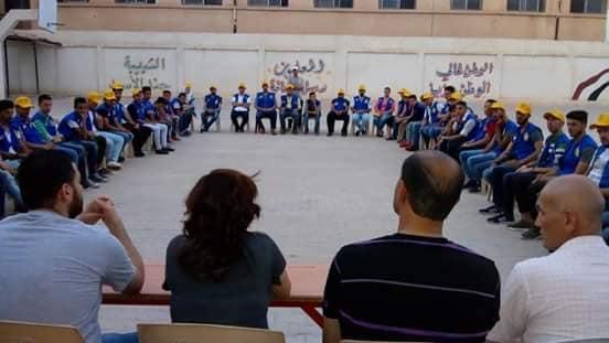 100شاب وشابة في سورية في مخيم بيئي مركزي في محافظة دير الزور