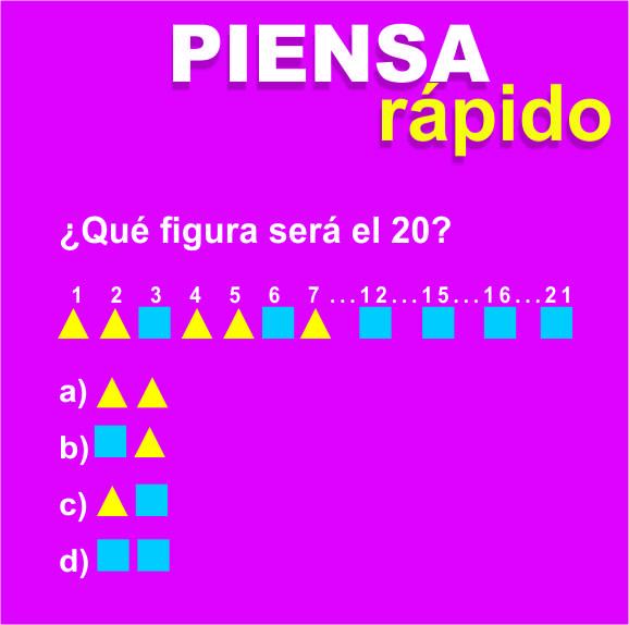 Competencias matemáticas básicas:Piensa rapido ¿Qué figura será el 20?